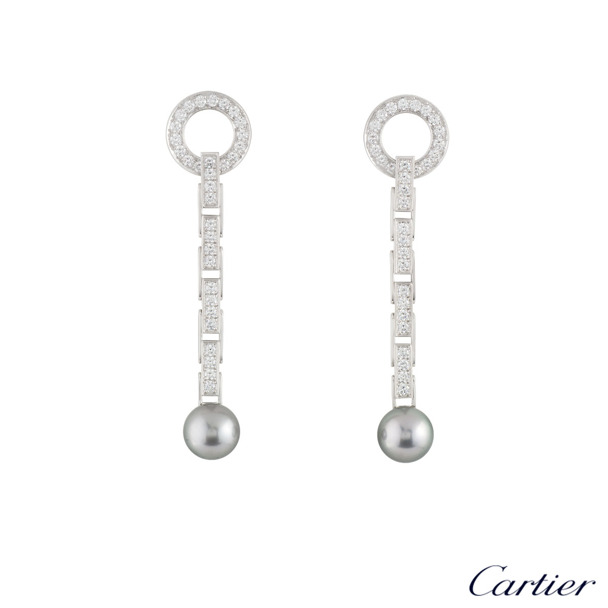 Cartier White Gold Diamond & Pearl Agrafe Earrings 1.92ct